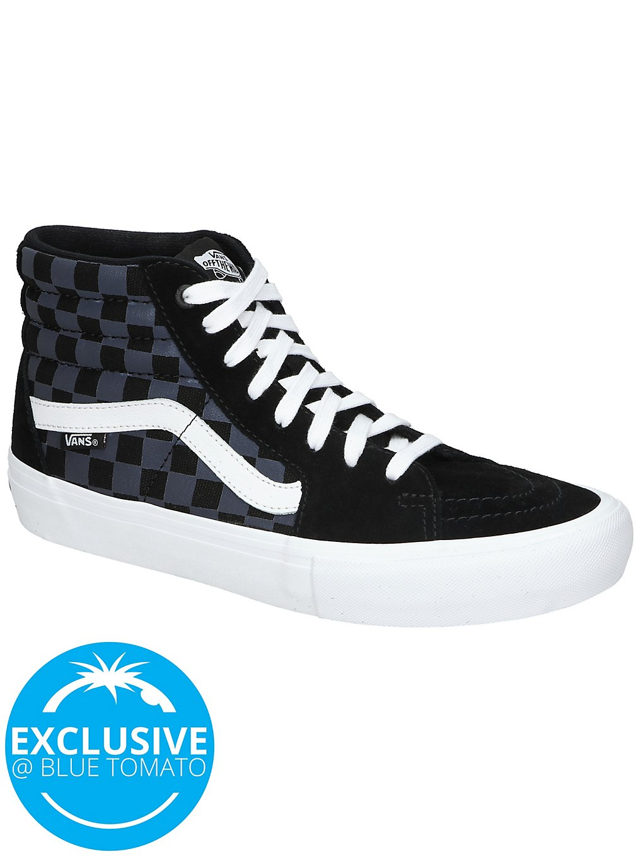 Vans Reflective Checkerboard Sk8 Hi Pro Skate Shoes white