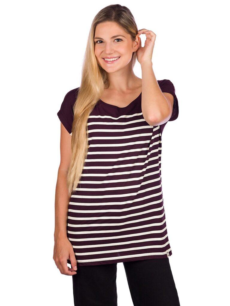 Iriedaily Cat Stripe T-Shirt aubergine kaufen