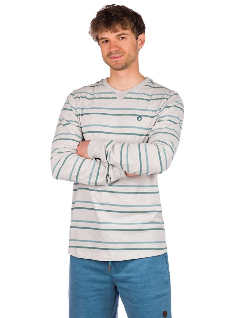 Kazane Emil Long Sleeve T-Shirt light heather grey / stripe kaufen
