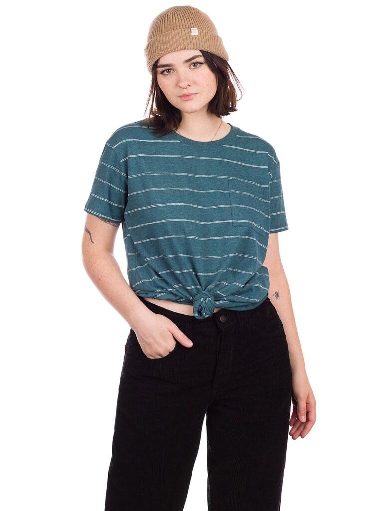 Kazane Rehn T-Shirt deep teal heather / striped kaufen