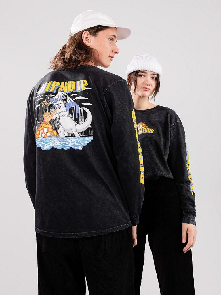 RIPNDIP Nermzilla Long Sleeve T-Shirt black mineral wash kaufen