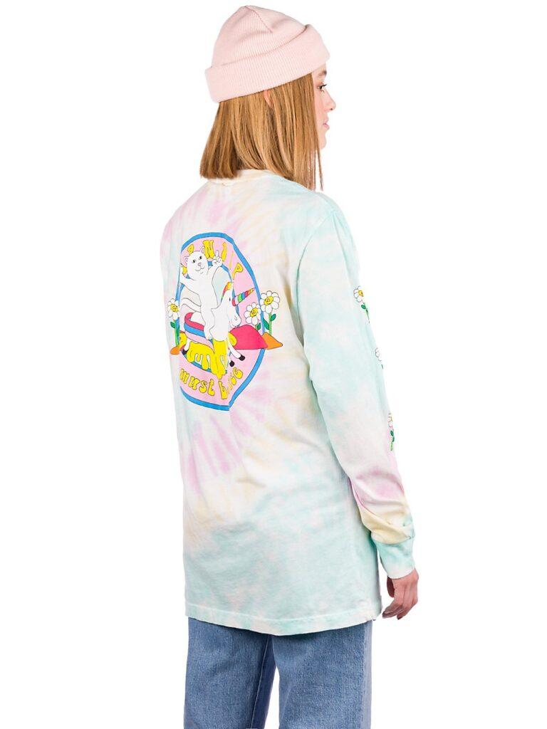 RIPNDIP Unicorn Rider Long Sleeve T-Shirt aqua / pink sprial wash kaufen