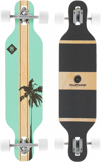 ROLLERCOASTER PALMS + STRIPES + FEATHERS THE ONE EDITION Drop Through Longboard - PALMS mint kaufen