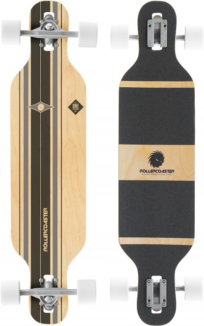 ROLLERCOASTER PALMS + STRIPES + FEATHERS THE ONE EDITION Drop Through Longboard - STRIPES black kaufen