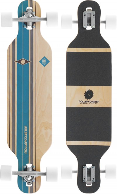 ROLLERCOASTER PALMS + STRIPES + FEATHERS THE ONE EDITION Drop Through Longboard - STRIPES blue kaufen
