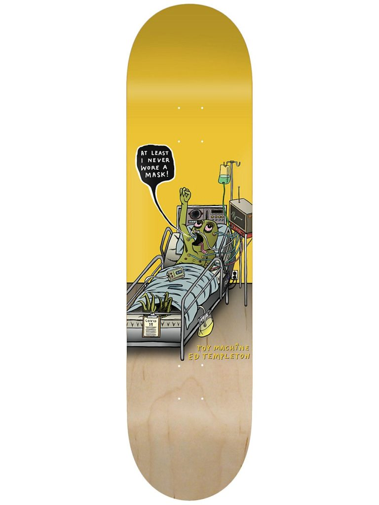 """Toy Machine Templeton Never Wore A Mask 8.5"""" Skateboard Deck natural / yellow kaufen"""